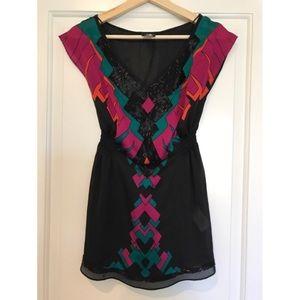 H&M vibrant beaded blouse